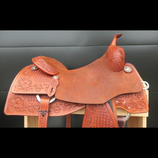 """Martin 16.5"""" Chestnut 7/8 Tooled Performance Saddle #03610"""